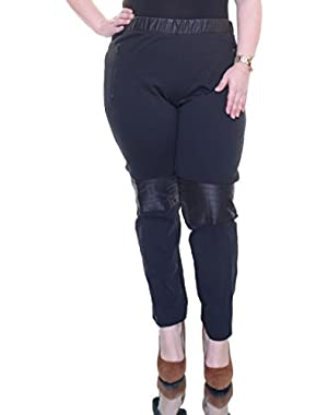 Calvin Klein Jeans Women's PU Panelled Ponte Legging