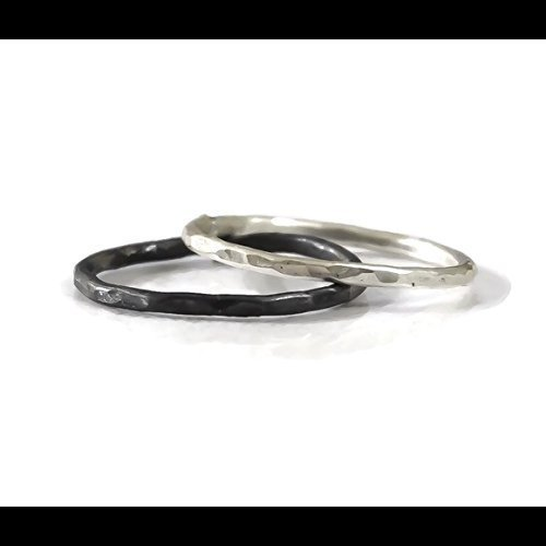 925 Sterling Silver Stacking Ring Set Of 2 Oxidized Black Hammered Textured Two Toned Mixed Metals Size 2 3 4 5 6 7 8 9 10 11 12 13