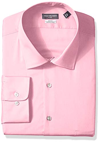 Van Heusen Men's FIT Dress Shirts Flex Collar Solid (Big and Tall), Pink Mist, 18.5