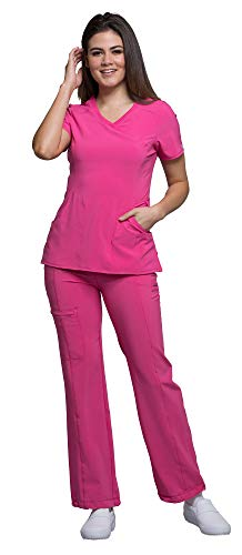 (Cherokee Infinity Women's Mock Wrap Scrub Top 2625A & Low Rise Drawstring Scrub Pants 1123A Scrubs Set (Certainty Antimicrobial) (Carmine Pink - XX-Large/XL Tall))