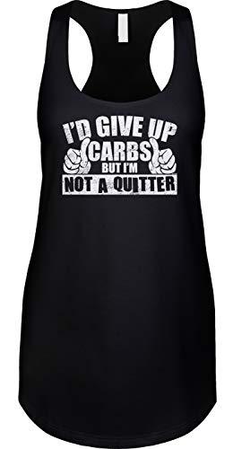 Blittzen Womens Tank Id Give Up Carbs But Im Not A Quitter, S, Black