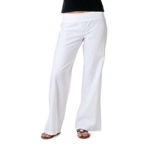 White Linen Blend Pant (Love Tree Women's Fold-Over Waist Linen Pants, White, XXX-Large)