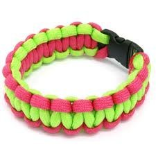 Neon Pink & Neon Green Paracord Survival Bracelet By Bostonred2010