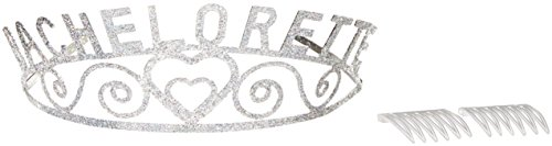 Beistle 60636 Glittered Metal Bachelorette Tiara, One Size Silver