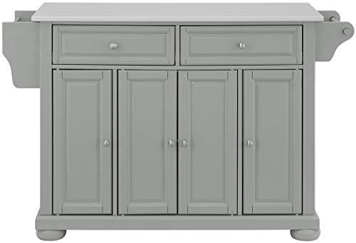 Farmhouse Kitchen Crosley Furniture Alexandria Full Size Kitchen Island with Solid White Granite Top, Gray farmhouse kitchen islands and carts