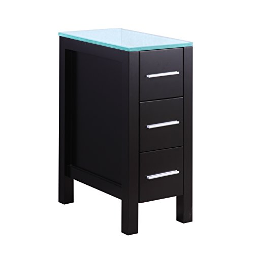GOODYO 12 Inch Modern Bathroom Vanity Cabinet with Glass Countertop,Black