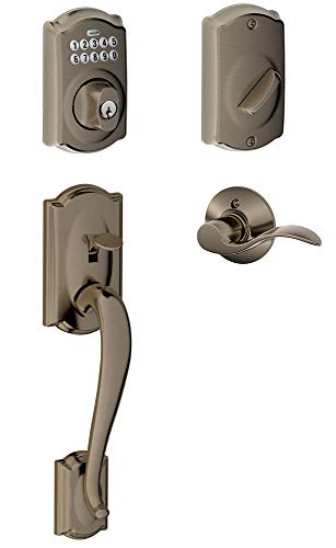 Schlage FE365-CAM-ACC-LH Left Handed Camelot Electronic Handleset with Accent Le, Antique Pewter (Pewter Accents Series Antique)