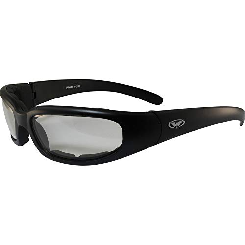 Chicago Photochromic Light Adjusting Padded Motorcycle Sunglasses By Global ()