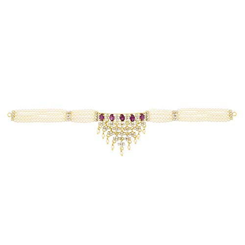 (Efulgenz Indian Bollywood Traditional 14 K Gold Plated Pearl Beaded Cubic Zirconia Ethnic Ruby Pink Choker Necklace Earrings Bridal Jewelry Set)