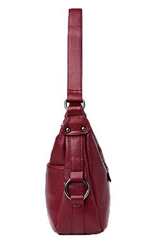 Rouge AllhqFashion Des Sacs Pu Cuir Zippers FBUFBD180861 Mode à sacs bandoulière Femme Vineux Décontractée 7wY7g1