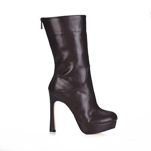 Redonda Grueso Señoras Negro heel High Sexy Con Impermeable Brown New Escritorio Western Boot Bota Cabeza Media wTqEXqB