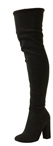 Sexy Womens Over The Knee Wide Calf Stretch Suede Pirate Thigh High Heel Boots Sizes 3 4 5 6 7 8 UK Black