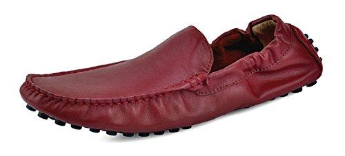 Santimon-mens Confortable En Cuir Véritable Conduite Chaussure Mocassins Mocassins Mocassins Doug Chaussures Rouge