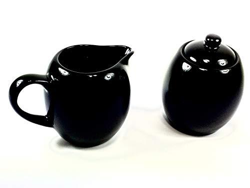 Black Ceramic Two Piece Creamer & Sugar Service Set