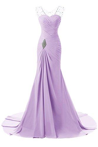 De Baile Curso Dama Honor Maxi Púrpura Vestido Mujeres Formales Fin La Las Boda Folobe Gasa Largo Largas 05wPqz