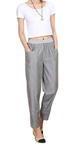 Linen Blend Bootcut Pants - 5