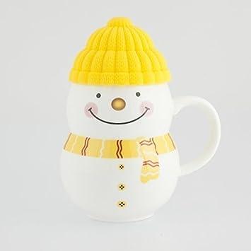 Tazza Grande da 300ml in Ceramica a forma di Pupazzo di Neve con Cappello  (giallo 63f245df5bc8