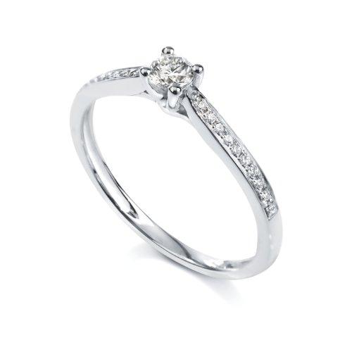 Tous mes bijoux - BADO01030 - Bague Solitaire Femme - Platine 2.81 gr - Diamant 0.28 cts