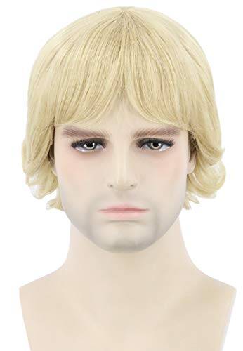 Topcosplay Men's Wigs Blonde Short Wavy Cosplay Halloween Character Costume Party Wig ()