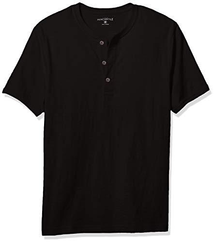 - J.Crew Mercantile Men's Short-Sleeve Slub Cotton Henley, Black, XXL