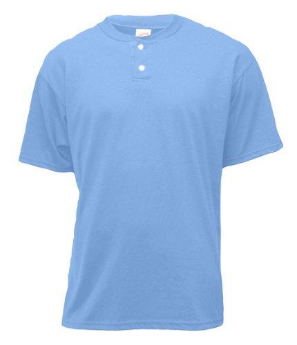 - Soffe Men's 2-Button Placket Henley , Columbia Blue , Medium