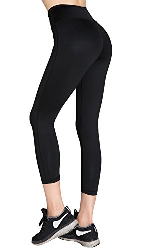 Aenlley Women's Activewear Yoga Pants High Rise Slim Fit Tights Cropped Capris Color Black of 2 Size XS