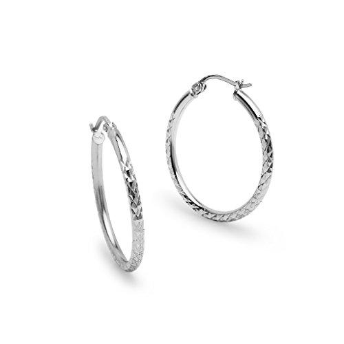 (Sterling Silver 2x25mm Round Diamond Cut Hoop Earrings)