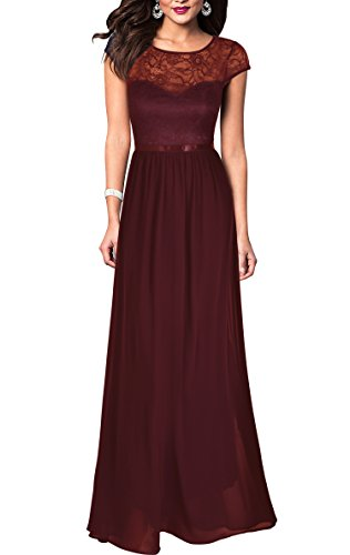 REPHYLLIS Women's Retro Floral Lace Chiffon Wedding Maxi Formal Long Dress (M, DarkRed)