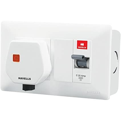 Havells DBOXx MCB Protected Socket PVC Plastic Base Model (White)