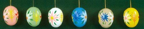 6 Erzgebirge Wood Easter Egg Ornaments