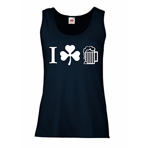 lepni.me Female Tank Top The Symbols Of ST. Patrick's Day - Irish Icons (Large Blue Multi Color)