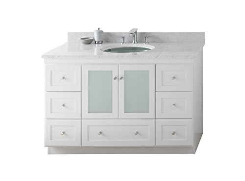 - RONBOW Shaker 49 inch Bathroom Vanity Set in White, Single Bathroom Vanity with Top and Backsplash in White Marble with 8 inch Widespread Faucet Hole, White Oval Ceramic Sink 081948-1-W01_Kit_1