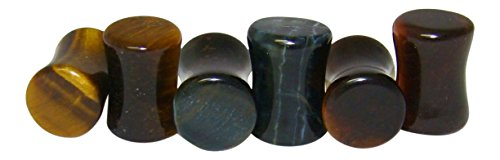 Eye Gauge (-ALL 3 PAIR- Yellow, Blue & Red Tiger Eye Organic Stone Plugs Double Flare Gauges (0g (8mm)))