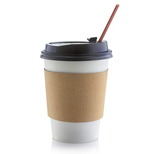 50 Set Premium 12 Oz Disposable Paper Coffee Cups to Go with Lids, Sleeves & Stirrers, White, Cups for Hot Beverages and Cold Drinks, 12 Ounce Cup