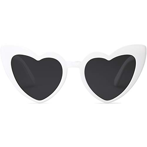 SOJOS Heart Shaped Sunglasses Clout Goggle Vintage Cat Eye Mod Style Retro Glasses Kurt Cobain SJ2062 with White Frame/Grey Lens (Round Sunglasses Goggles)