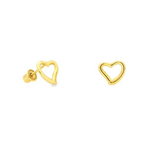 14K Yellow Gold 7mm Open Heart Screw Back Stud - Mm 14k Heart 7