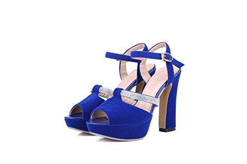 AllhqFashion Mujeres Tacón ancho Esmerilado Tachonado Hebilla Peep Sandalia Azul