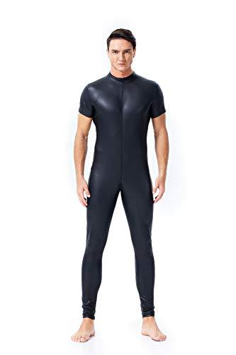 FUNFSEX Men's Jumpsuit Wet Look Faux Leather Short Sleeves Zip Bodysuit Catsuit Club Wear Costume, XXL