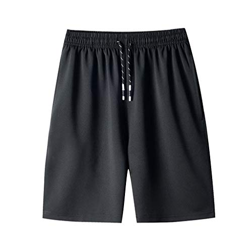 (QueenMMMen's Super Comfy Summer Dry Fast Loose Shorts Big and Tall Pleated Sport Pants Jogging Training Short Pants(M-8XL) Black)