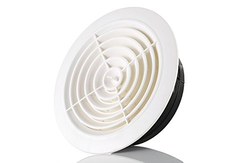 Hon&Guan 4 Inch Round Air Vent ABS Louver White Grille Cover Adjustable Exhaust Vent Fit for Bathroom Office Kitchen (Inlet Grille)