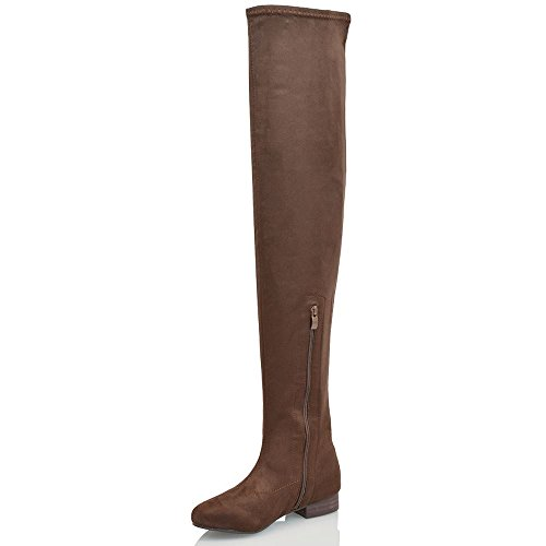 WOMENS THIGH HIGH FAUX SUEDE LADIES TALL STRETCH OVER THE KNEE HIGH BOOTS  SIZE: Amazon.co.uk: Shoes & Bags
