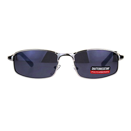 Mens Narrow Rectangular Metal Rim Sport Agent Sunglasses - Secret Sunglasses Agent