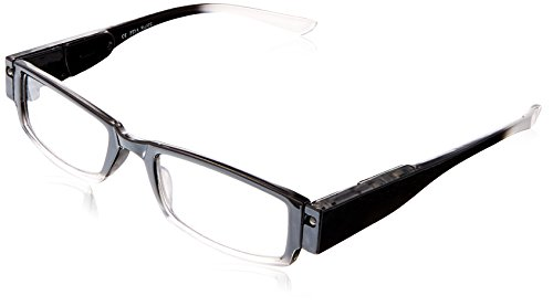 EVIDECO LED Reading Glasses with Light, LG Black Optic By Finess Power +1
