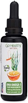 Go Healthy Natural DHA/EPA Omega 3 Liquid Algae Oil, Vegan, Orange Flavor Fish-Free in 50 ml Miron Glass