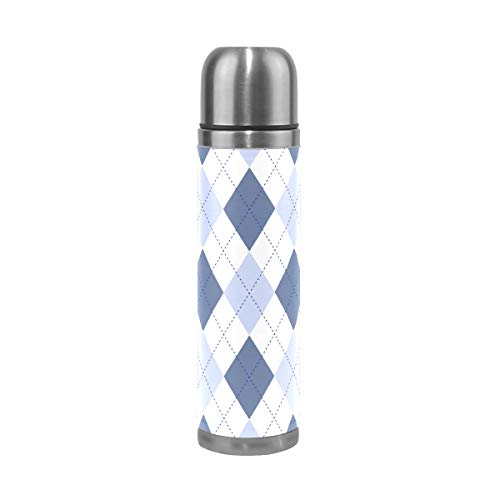 FORMRS 17 oz Vacuum Cup Pale Cornflower and White with Cobalt Blue Stitch Insulated Stainless Steel PU Leather Travel Mug Christmas Birthday Gifts