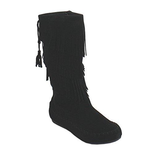 Link Candice-16K Girls Mid Calf 3 Layer Fringe Boots,Black,10