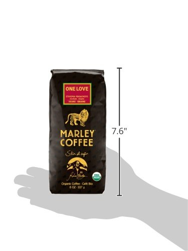 Marley Coffee, Organic One Love, Ethiopian YirgaCheffe, Whole Bean Coffee, 8 Ounce