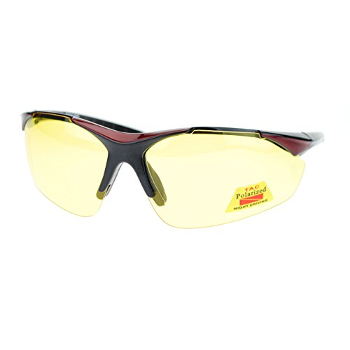 Mens Biker Polarized Yellow Lens Night Riding Half Rim Motorcycle Glasses - For Bikers Glasses