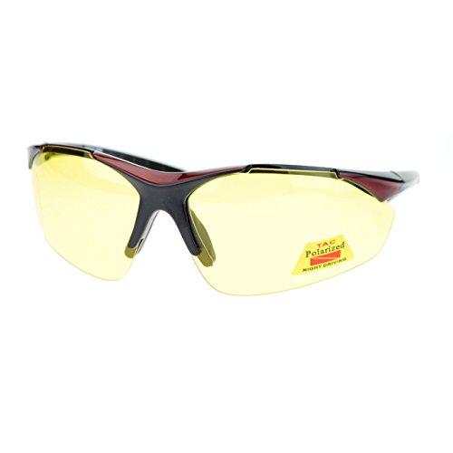 Mens Biker Polarized Yellow Lens Night Riding Half Rim Motorcycle Glasses - Glasses Bikers