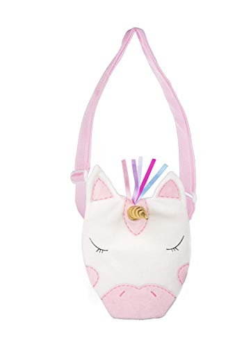 Plush Pink and White Ribbon Unicorn Coin Purse with Strap